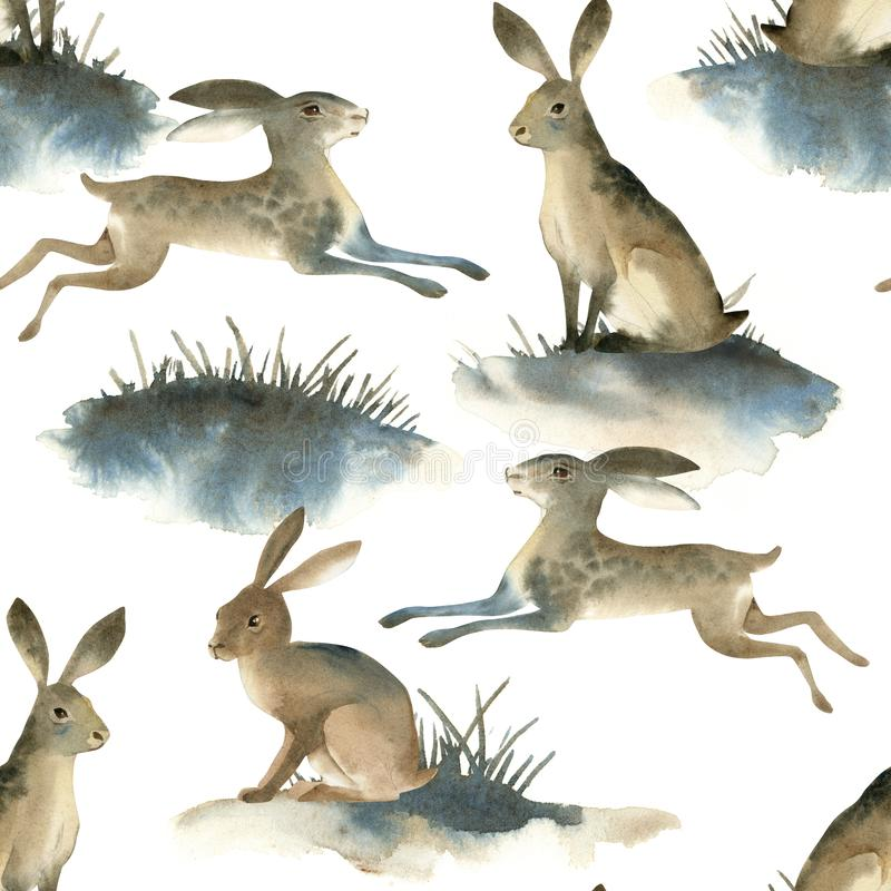 Watercolor illustartion of brown wild hare on white background. Seamles pattern about rabbit on the meadow. Watercolor illustartion of brown wild hare on white stock illustration