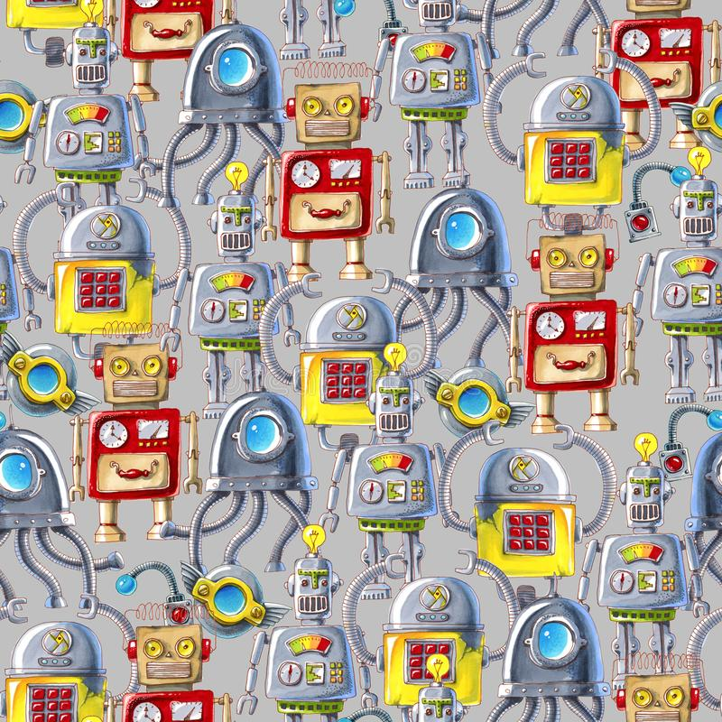 Seamless pattern of colorful robots on white background. vector illustration