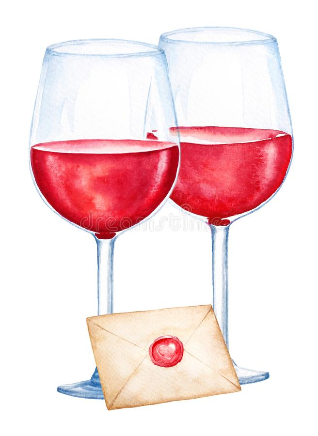 Watercolor illustartion of two glasses with red wine and closed envelope on white background stock illustration