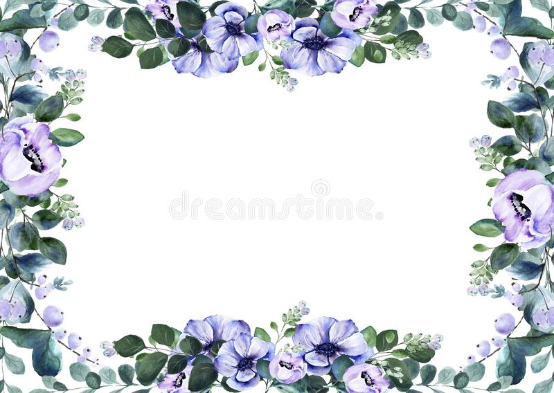Floral watercolor anemone flower premade rectangular frame stock image