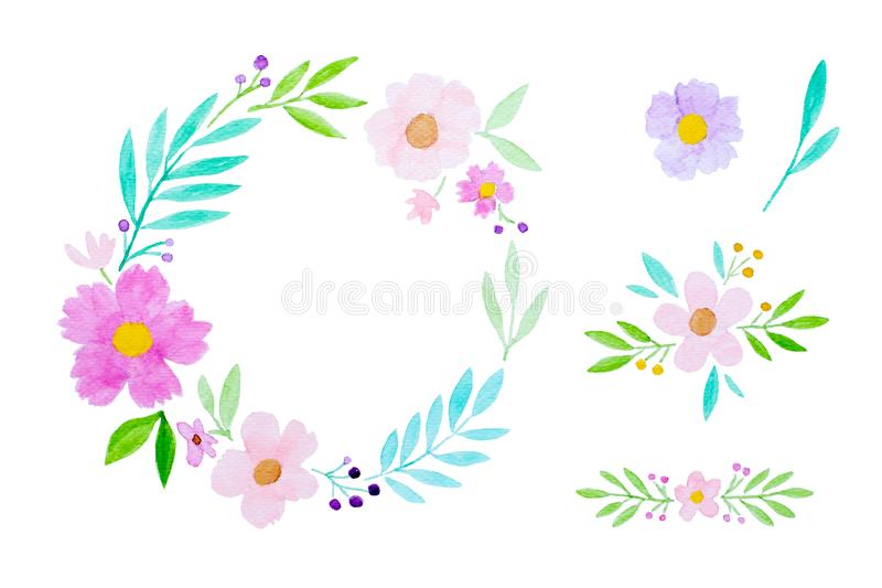 Watercolor illustration art design, Set of colorful flowers wreath in watercolor hand pianting style isolated on white background stock photos