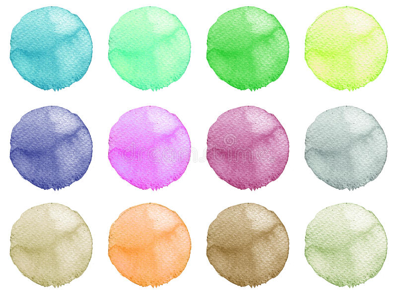 Watercolor Illustration for artistic design. Round stains, blobs of blue, red, green, brown color royalty free illustration