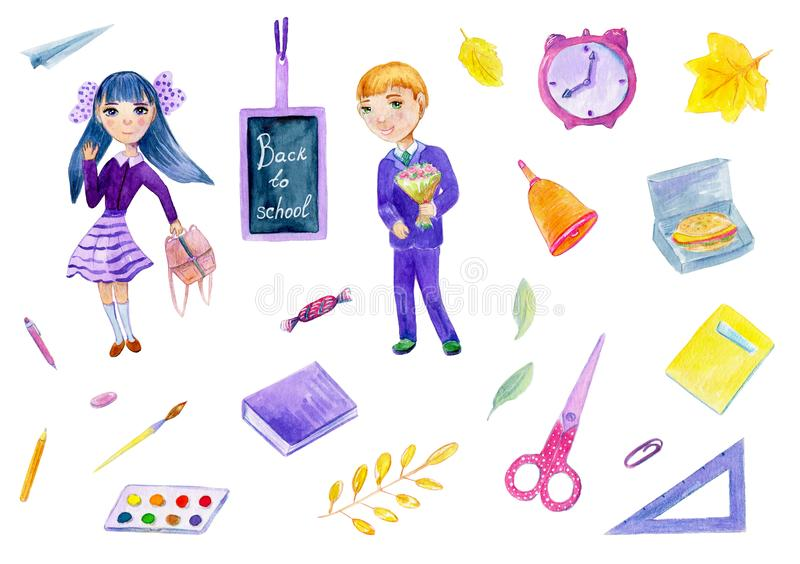 Watercolor illustration about back to school set with girl and boy on the white background. stock illustration