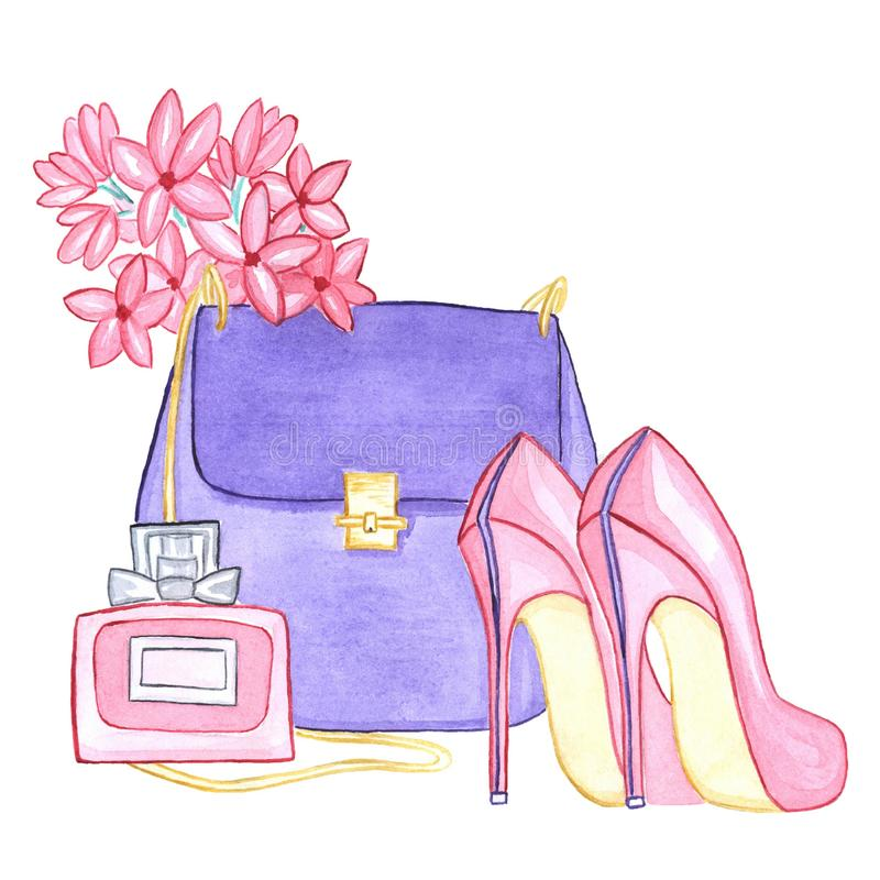 Watercolor illustration of a bag, flowers, perfume and shoes. stock illustration