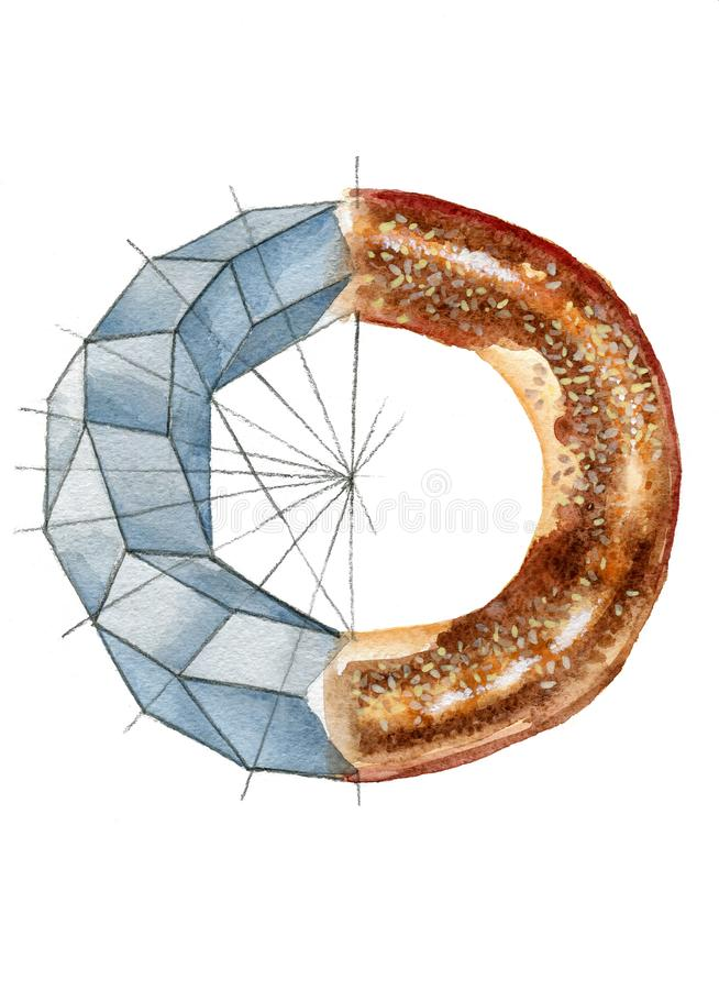Watercolor illustration of a bagel and toroid stock photo