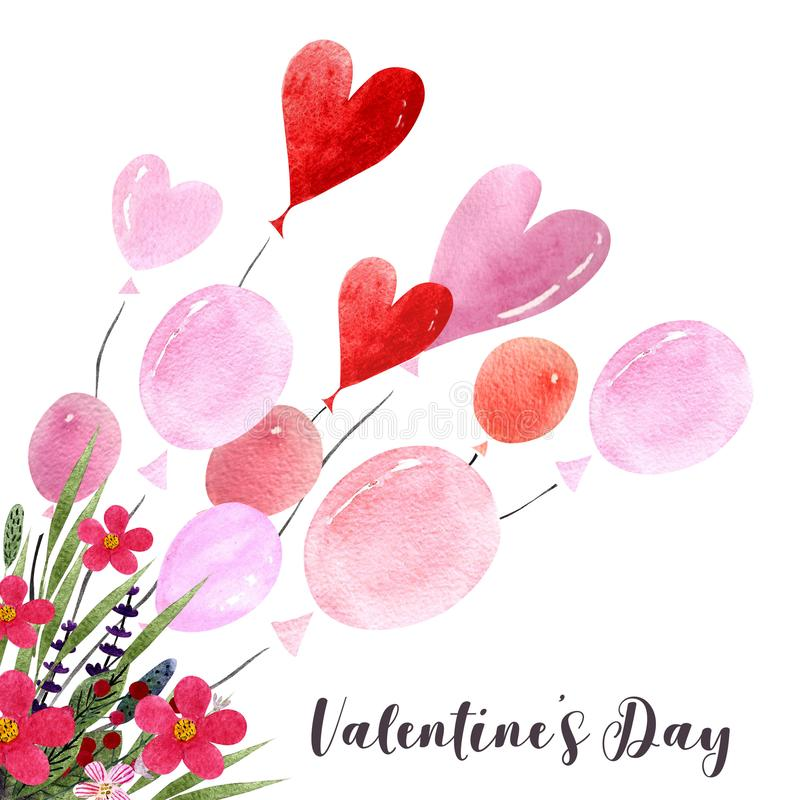 Watercolor illustration with balloons, hearts,leaves, herbs and flowers. Happy Valentine`s Day. Love text. Happy Valentine`s Day illustration. Watercolor royalty free illustration