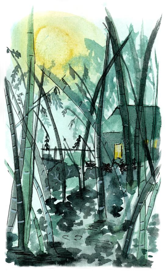 Watercolor illustration of bamboo forest and a little house in the night royalty free stock photos