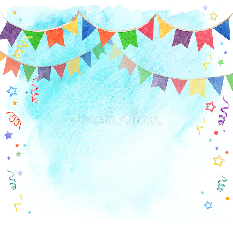 Watercolor illustration of banner flags on sky background. Decorations Festival and celebrations. stock illustration