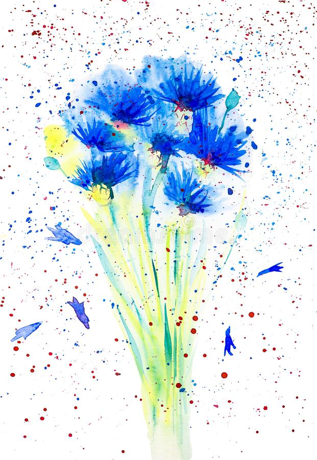 Watercolor illustration of  beautiful abstract blue flowers Bouquet. Isolated on white background royalty free illustration