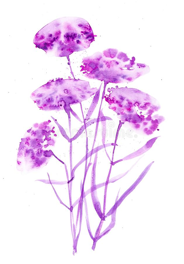 Watercolor illustration with beautiful abstract purple flowers. Isolated on white background stock photo