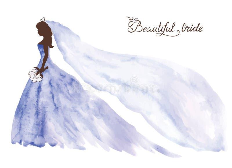 Watercolor illustration -- beautiful bride royalty free illustration