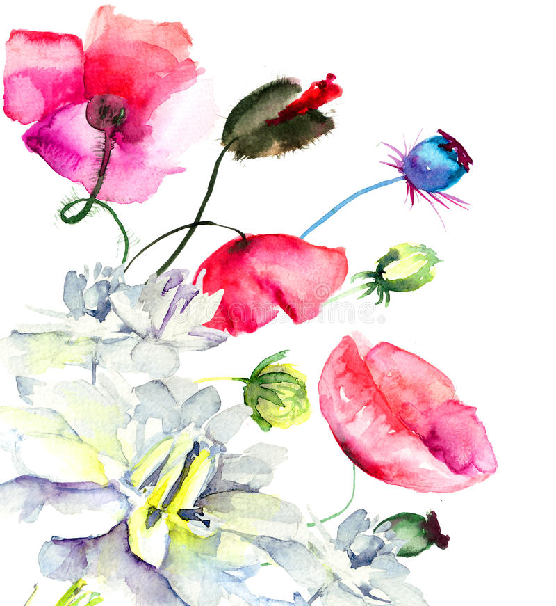 Watercolor illustration of beautiful flowers