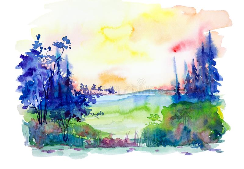 Watercolor illustration of a beautiful summer forest landscape stock illustration