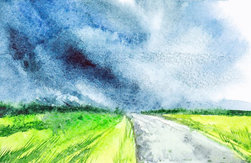 Watercolor illustration of a beautiful summer forest landscape with a rural road stock illustration