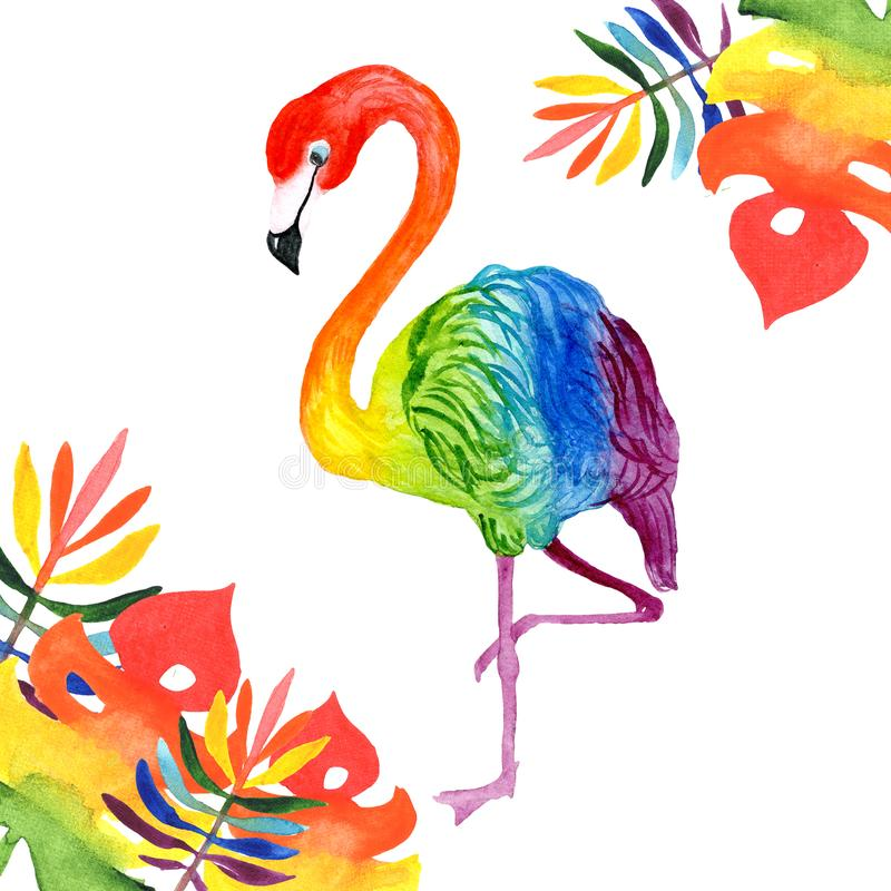 Watercolor illustration of a beautiful tropical exotic rainbow flamingo with tropical rainbow-colored leaves royalty free stock photography