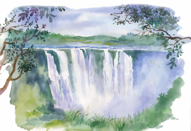 Watercolor illustration of beautiful waterfall royalty free illustration