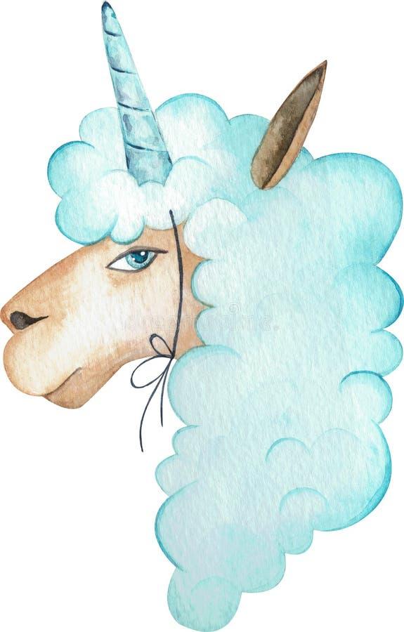 Cute Llama Head With Unicorn Horn Stock Vector
