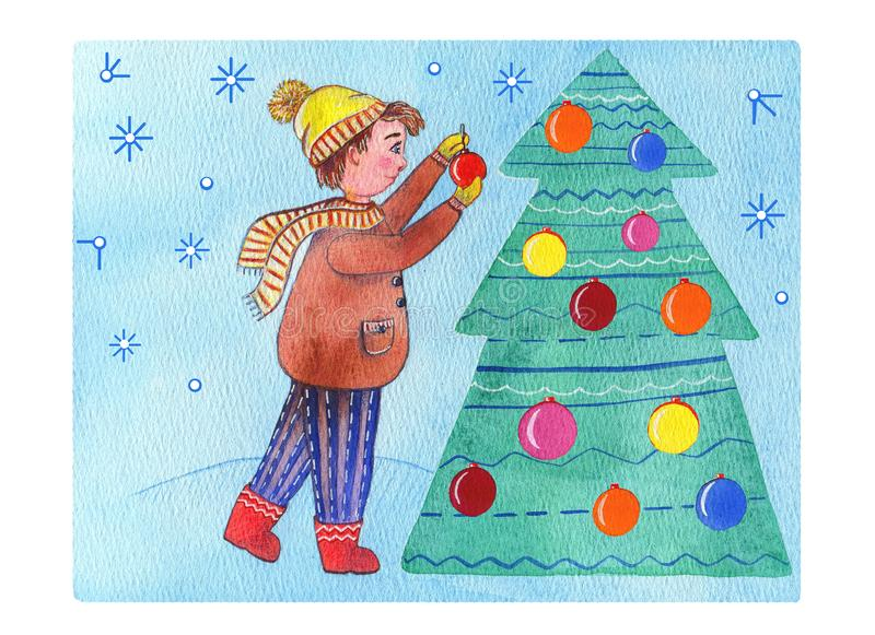 Watercolor illustration boy in winter clothes decorating a christmas tree with multicolored balls on the winter blue light backgro vector illustration