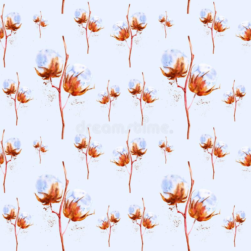 Watercolor illustration of the branches of the cotton with fluffy flowers. Isolated on blue background.Seamless pattern stock photo