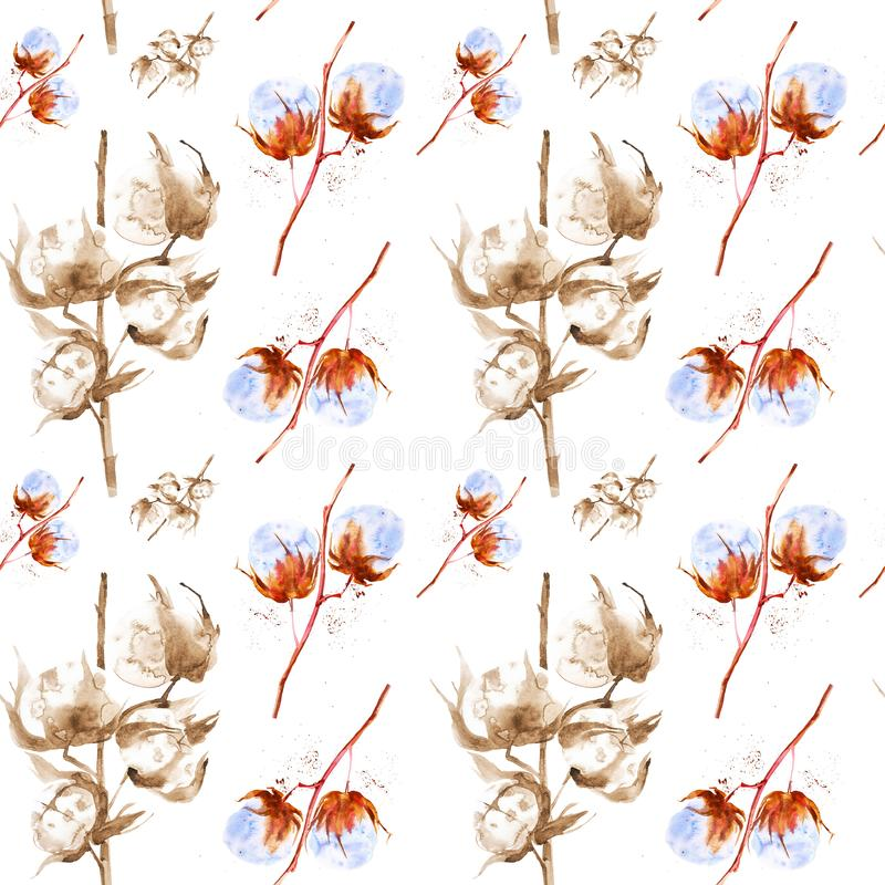 Watercolor illustration of the branches of the cotton with fluffy flowers. Isolated on white background. Seamless pattern vector illustration