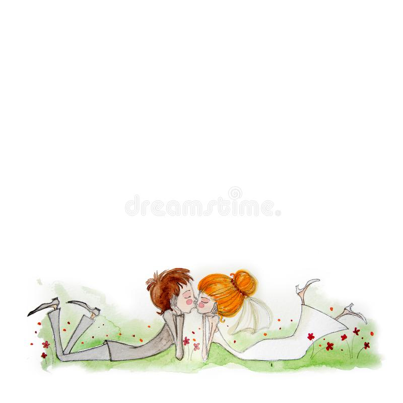 Watercolor illustration with Bride and Groom royalty free stock image