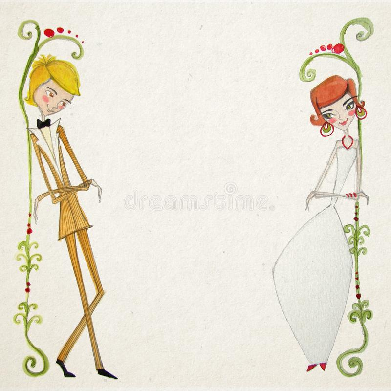 Watercolor illustration with Bride and Groom stock image