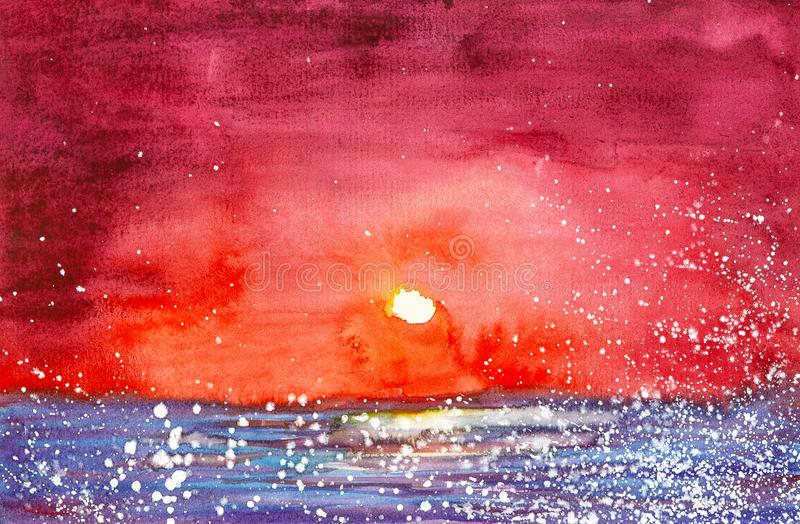 Watercolor illustration of a bright red sunset over the lake. In the foreground flying white fluff stock illustration
