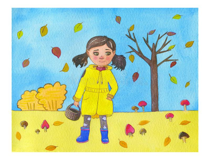 Watercolor illustration brunette girl in yellow coat and blue rubber boots with basket for mushrooms on the autumn background. vector illustration