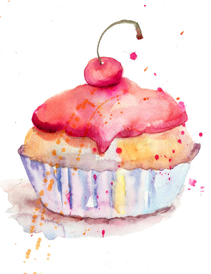 Download Watercolor Illustration Of Cake Stock Illustration - Image: 27436667