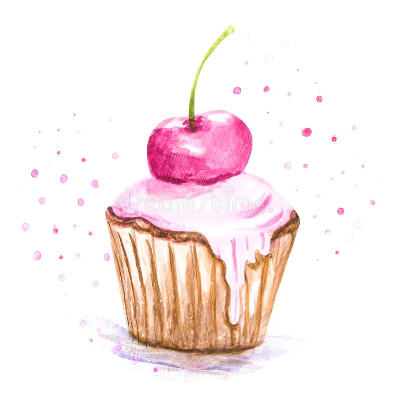 Watercolor illustration cake in glaze royalty free stock image