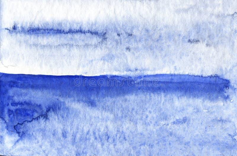 Watercolor illustration of a calm blue sea stock illustration