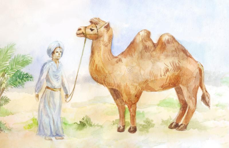 Watercolor illustration of camel and chasseur on desert background. Egypt scene. stock illustration