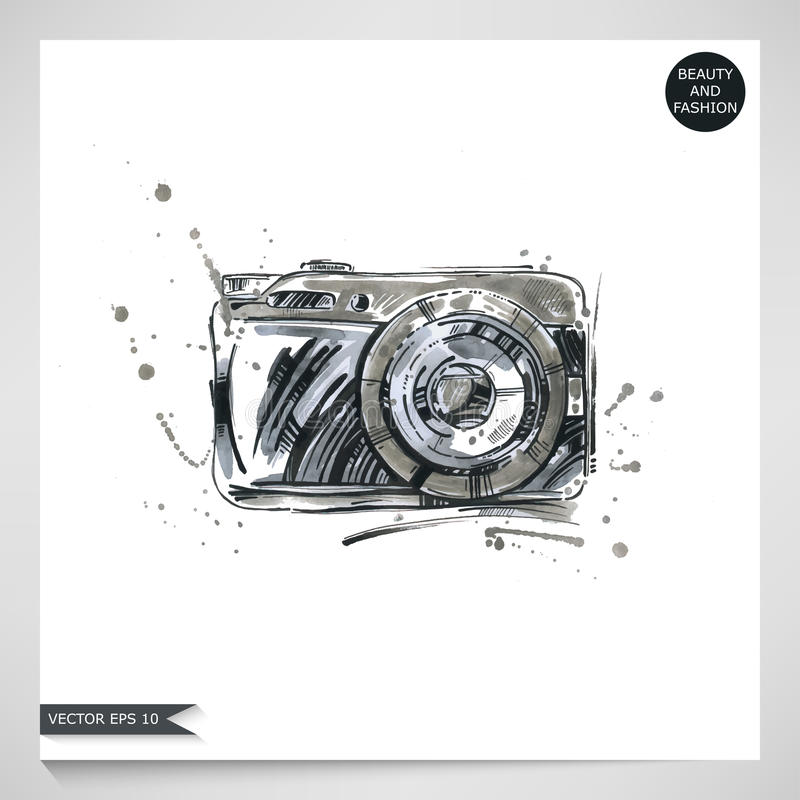 Watercolor illustration of a camera. stock image
