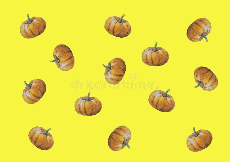 Watercolor illustration card halloween pumpkin autumn vegetable stock illustration