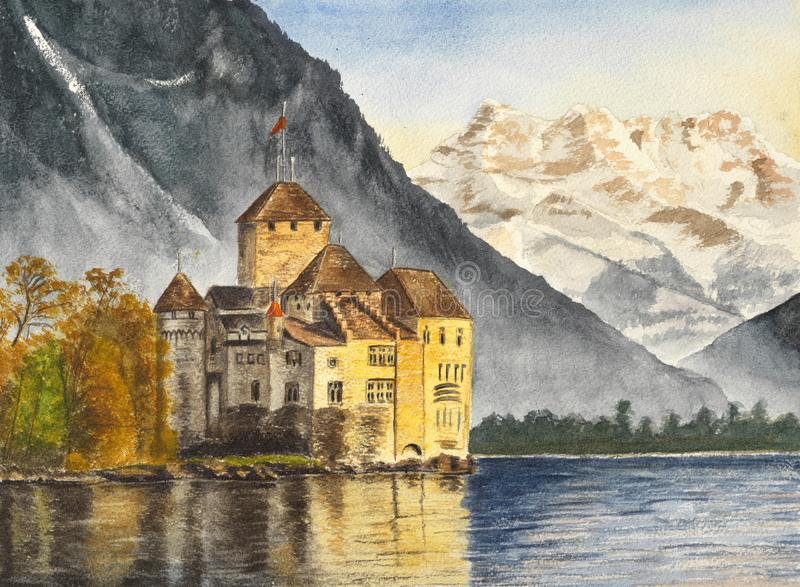 Watercolor Illustration of Castle with lake, mountains in background stock images