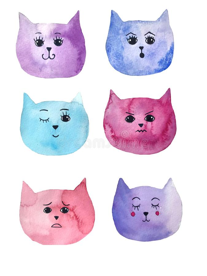 Watercolor illustration of cat`s emotions. Bright art can be used for postcard, printing stock image