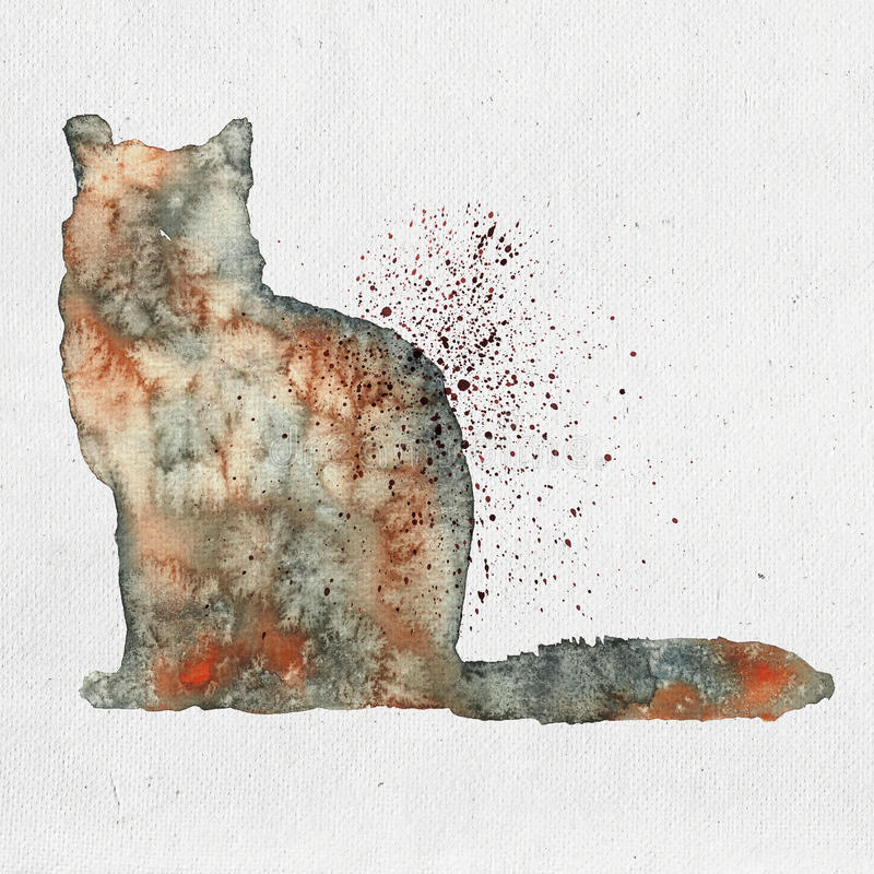Watercolor illustration of a cat silhouette stock illustration