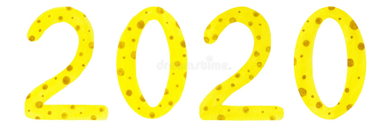 Watercolor illustration of 2020 cheese style numerals stock illustration