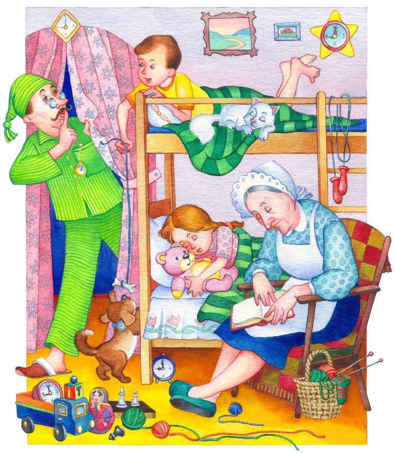 Watercolor Illustration Children In Bedroom Stock