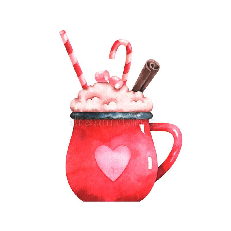 Watercolor illustration of christmas coffe cup vector illustration