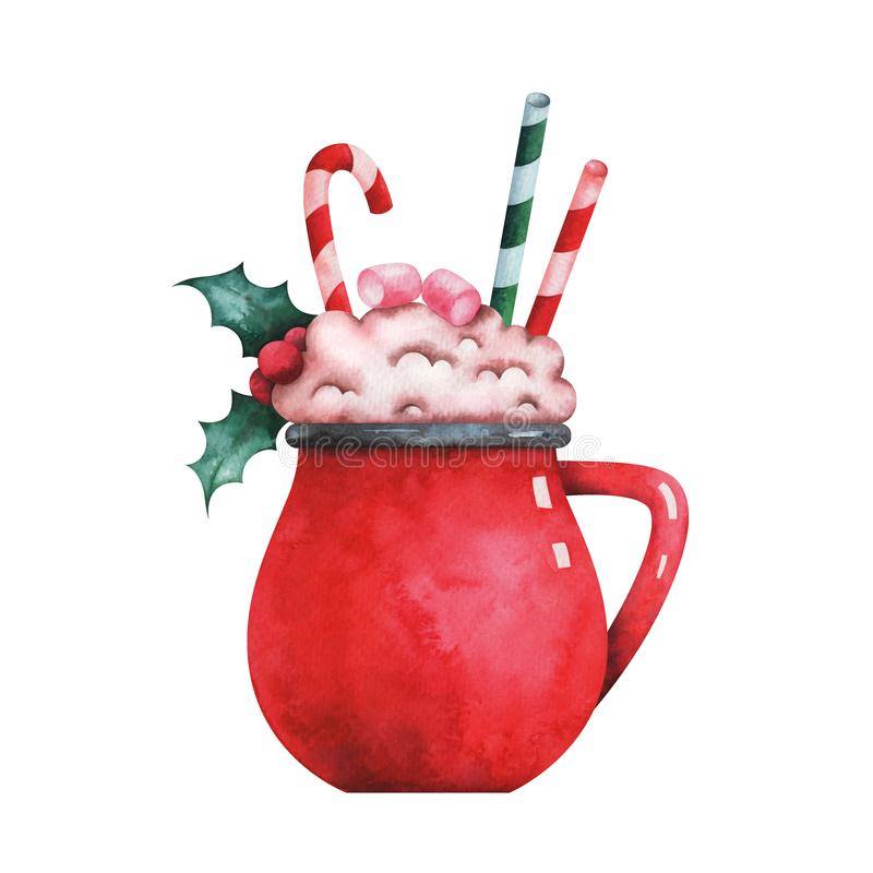Watercolor illustration of christmas coffee cup stock illustration