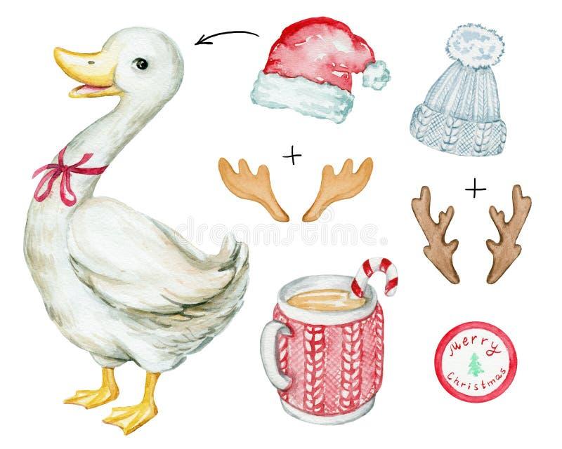 Christmas white goose vector illustration