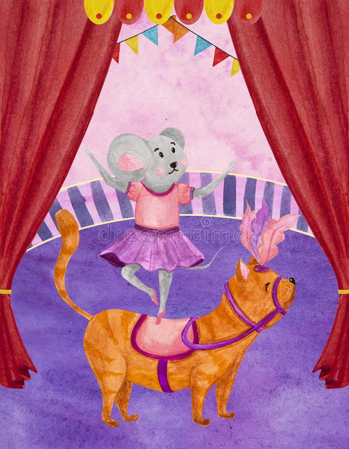 Watercolor illustration of a circus animal trainer gray mouse royalty free stock image
