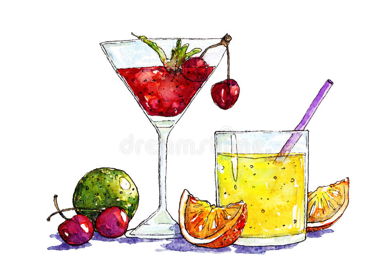 Watercolor illustration of cocktails and fruits. Handrawn watercolor sketch of cocktails and fruits stock illustration