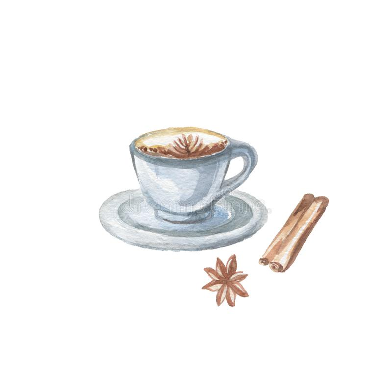 Food Clipart. Watercolor Illustration of Coffee Cup on Saucer with Cinnamon Stick and Dried Star Anise Fruits - Badian royalty free illustration
