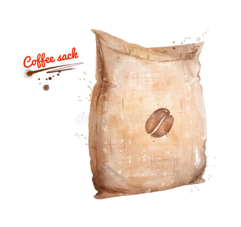 Watercolor illustration of coffee sack. With paint smudges and splashes on white background stock illustration