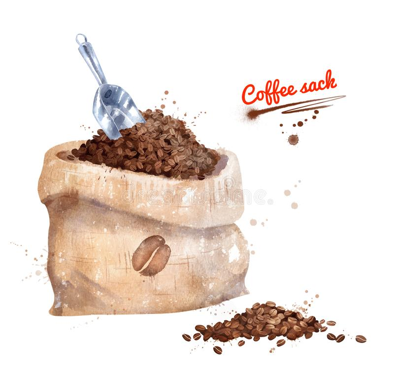 Watercolor illustration of coffee sack. With scoop with paint smudges and splashes on white background vector illustration