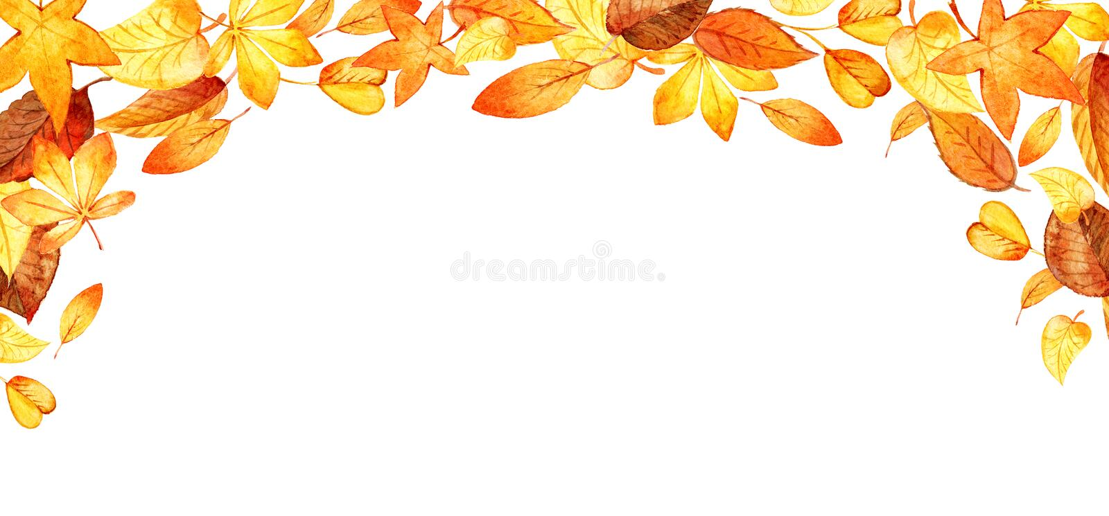 Watercolor illustration with colored leaves. Ideal for design with space for your text. Template for DIY projects vector illustration