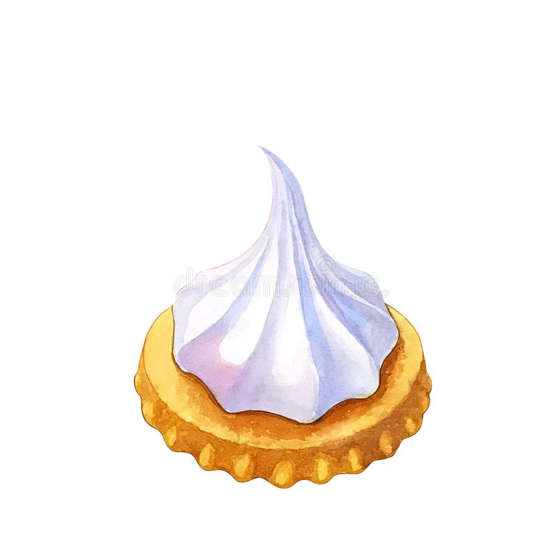 Watercolor illustration with a cookie with meringue, isolated on white background. Hand drawn sweet delicious asian dessert ice gem biscuit royalty free illustration