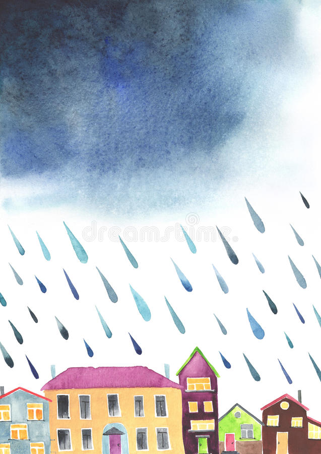 Watercolor illustration of a cozy town before the rain. royalty free illustration